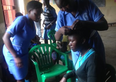 Students participating in the hairdressing course